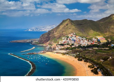 the village San Andres and famous Las Teresitas beach, Tenerife, Canary Islands, Spain