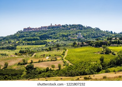 A village seen on the top of a hill and green rows of farms and trees in Tuscany