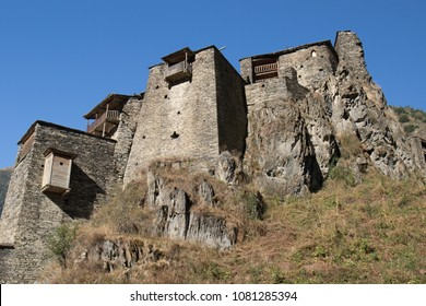 The village of Shatili.Shatili is a medieval, historical, mountain village from the 8th century in North Georgia near the border with Chechnya. Stone houses create a defensive fortress.Georgia.Asia