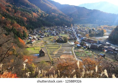 Village in Shirakawa-Go from observation point