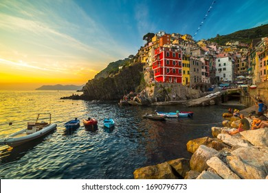 Village in a small valley at sunset, Riomaggiore, Cinque Terre National Park, Liguria, La Spezia, Italy
