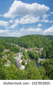 Village of Solingen-Unterburg at Wupper River in Bergisches Land,North Rhine westphalia,Germany
