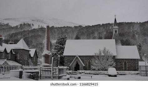 Village Square of Kinloch Rannoch, Perthshire in winter