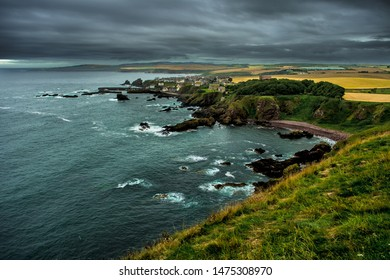 Village St. Abbs At The Spectacular Atlantic Coast of St. Abbs Head In Scotland