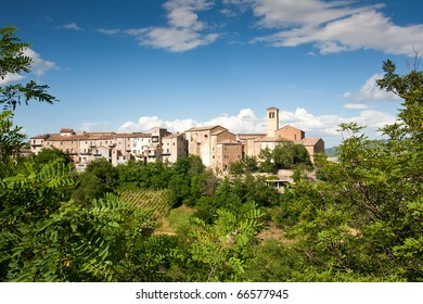 The Village of Talamello, le Marche, Italy, with blue sky