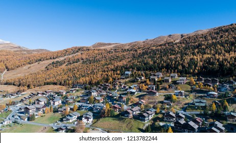 Village of Teola, Livigno. Alpine village in the Alps
