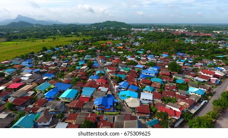 village in thailand asia aerial photo. top view.