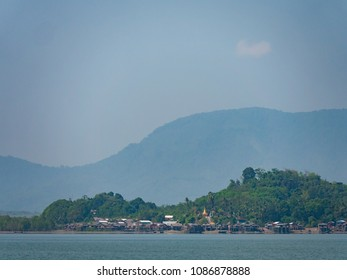 Village with traditional housing on Kadan Kyun, previously King Island, the biggest island of the Myeik Archipelago, formerly the Mergui Archipelago, in the Tanintharyi Region of Myanmar.