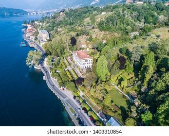 Village of Tremezzo and Villa Carlotta, lake of Como in Italy