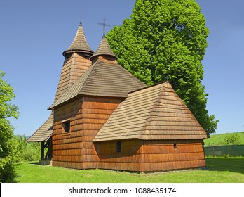Village Trocany, Slovakia - Wooden Church of Holy Apostle and Evangelist Luke. Dates back to the turn of the 15th and 16th century at latest, near Bardejov. Old wooden churches are the pride of Slovak