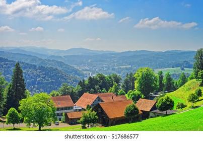 Village at Turbenthal with Swiss Alps in Winterthur district, Zurich canton of Switzerland.