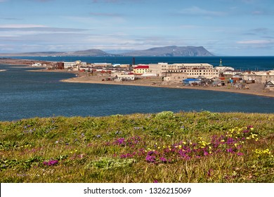 Village Uelen in Chukotka. It is the easternmost settlement in Russia and the whole of Eurasia. Located on a long spit between the lagoon and the Chukchi Sea. Chukotka, Russian Far East. Summer Arctic