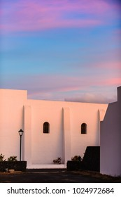 Village of Uga in the background of sunset. Lanzarote. Canary Islands. Spain
