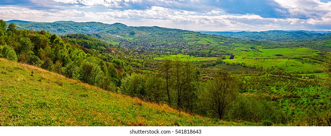 Village in the valley. Valea Plopului village, Prahova county, Romania.