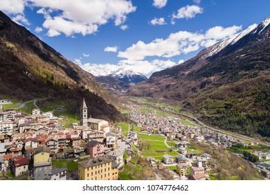 Village in Valtellina, Grosio. Province of Sondrio, Italian alps
