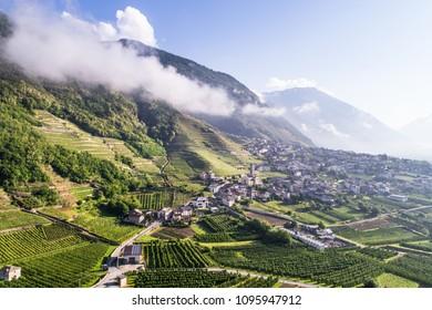 Village in Valtellina, mountain valley in the alps
