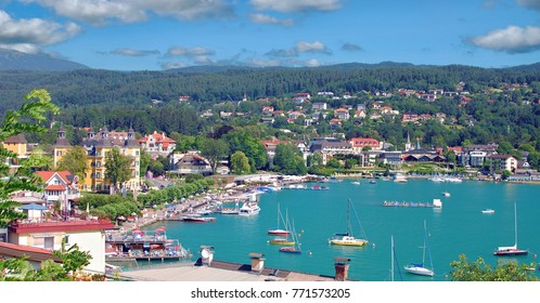 Village of Velden at lake Worther See in Carinthia,Austria