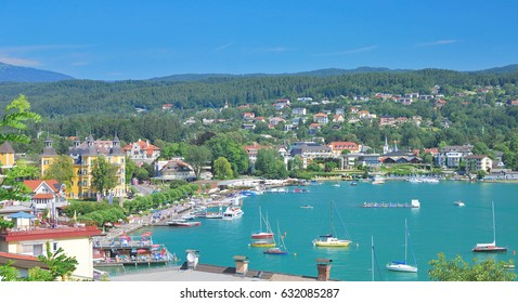 Village of Velden at Lake Worthersee in Carinthia,Austria