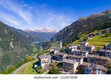 Village of Viano (Poschiavo). Alpine village in the Swiss Alps