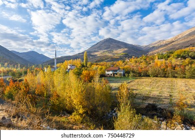 A village view with autumn colors in Malatya Province