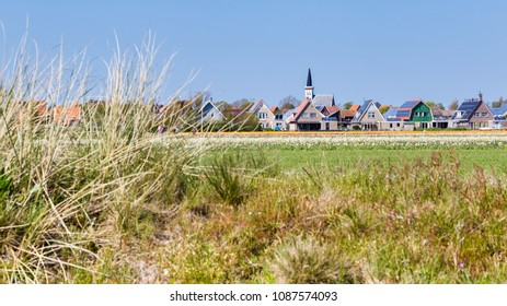Village view Den Hoorn a small village on the wadden islands Texel in the Netherlands