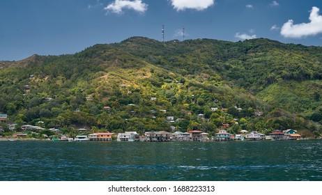 Village view on Guanaja island, Honduras