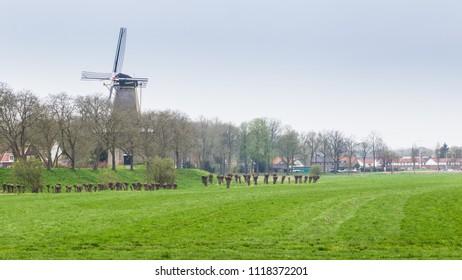 Village view of the picturesque ancient little village Buren in Neder-Betuwe, Gelderland, Netherlands