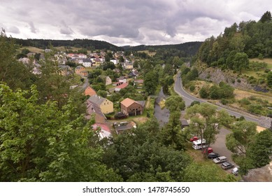 A village view in summer from above.