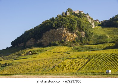 Château-Chalon village and vineyards from Voiteur, Jura, France