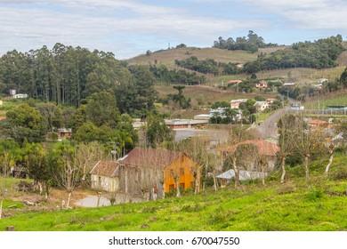 Village and Vineyards in winter, Vale dos Vinhedos valley, Bento Goncalves, Rio Grande do Sul, Brazil