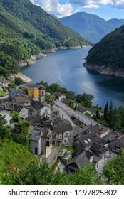 The village of Vogorno on Verzasca valley in the Swiss alps