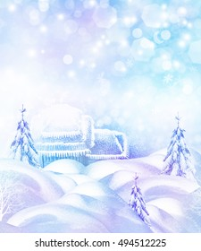 The village in winter forest. Christmas card.