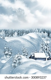 The village in winter forest. winter landscape