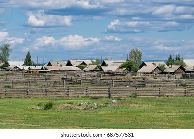 Village of wooden fences