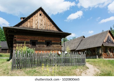Village with wooden houses.