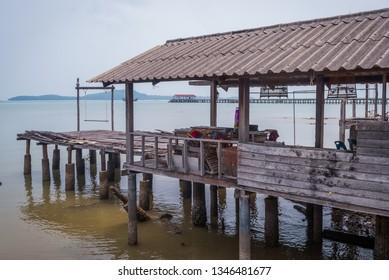 Village of wooden houses on pillars on Koh Lanta, Thailand