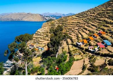Village of Yumani on Isla del Sol, Lake Titicaca, Bolivia