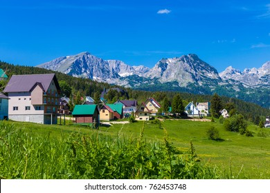 Village Zabljak in Durmitor - Montenegro - travel background