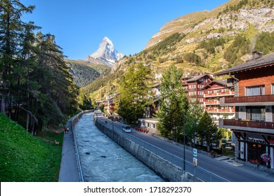 Village of Zermatt and Matterhorn Mountain Seen From Above. Zermatt, Switzerland 02 August 2016