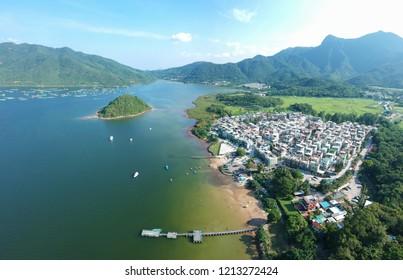 villages along the coastline near Wu Kai Sha, Hong Kong