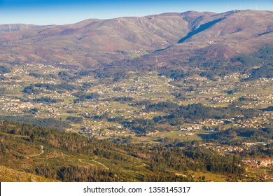 Villages of Arbo valley on the territorial frontier between Spain and Portugal from San Fins viewpoint