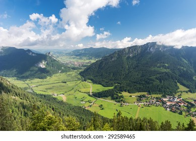 The villages of Ettal and Oberammergau photographed from mount Ochsensitz, Ettal, Bavaria, Germany