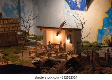 Villages and nativity scenes at dusk. The magic of Sutrio. Carnia.