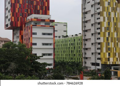 Villaggio a modern place of Accra in Ghana made of colorful cubic buildings. The picture has been taken on 17th august 2017.