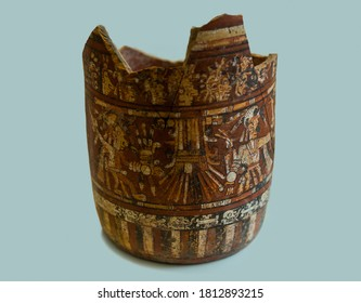 Villahermosa, Mexico - April 07, 2017: Fragment of a broken ceramic painted vessel of the ancient Maya. An artifact of the ancient Mayan civilization.