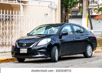 Villahermosa, Mexico - May 21, 2017: Motor car Nissan Versa in the city street.