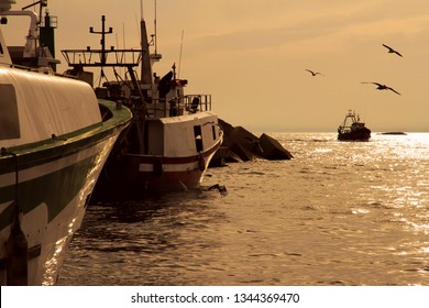 VILLAJOYOSA, SPAIN – MARCH 07, 2019. Arrival of trawler fishing boats at sunset after a journey fishing along the coast of Alicante province in the Spanish Mediterranean Sea.
