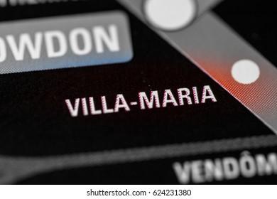 Villa-Maria Station. Montreal Metro map.