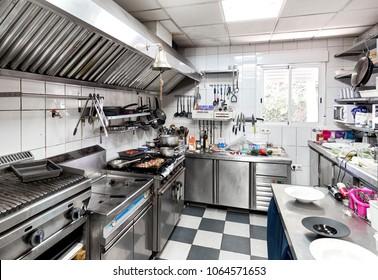 Villamartin, Spain - March 24, 2018: Work surface and kitchen equipments in the restaurant kitchen
