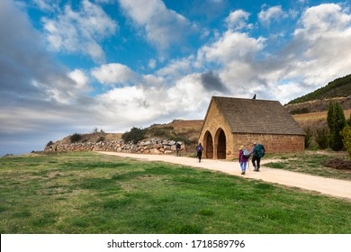 VILLAMAYOR DE MONJARDÍN / Navarre / Spain - 10/09/2019: The medieval cistern, known as Fonte de Los Moros (13th century). It is in Villamayor de Monjardin, a stretch of the Camino de Santiago.